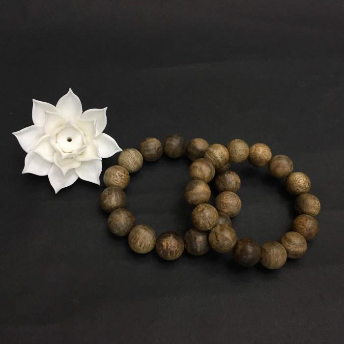 Vòng tay - Vòng Trầm Rừng Tốc Banh Xanh, cho tay nam (17.5 cm ~ 18 cm),dạng hạt tròn: 14 hạt - 1