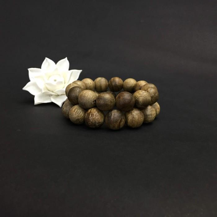 Vòng tay - Vòng Trầm Rừng Tốc Banh Xanh, cho tay nam (17.5 cm ~ 18 cm),dạng hạt tròn: 14 hạt - 2