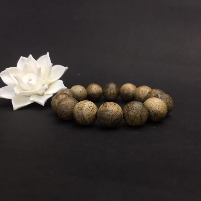 Vòng tay - Vòng Trầm Rừng Tốc Banh Xanh, cho tay nam (17.5 cm ~ 18 cm),dạng hạt tròn: 14 hạt - 4